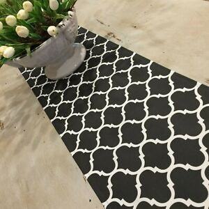 Table Runners, Indoor/Outdoor Weatherproof Canvas, Stone & Off White
