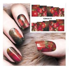 Rosso Rosa Fiori Nail Art Sticker Decal acqua trasferimento Manicure Decorazione