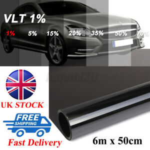 ULTRA LIMO BLACK DARK SMOKE 1% CAR VAN BUS WINDOW TINT 6Mx50CM FILM TINTING UK
