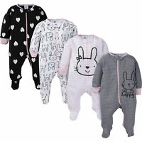 Gerber Baby and 4-Pack Girls Pink and Grey Bunny Sleep N' Play Pajamas