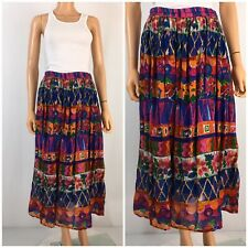 Vintage BOHO Gypsy Skirt Made India Cotton Gauze Lined Tiered Tribal Festival M