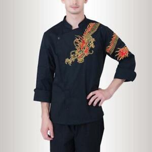 Chef Coat Dragon Pattern Cook Jacket Unisex Work Uniform Long Sleeve