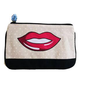 Ipsy Makeup Glam Bag June 2017 Red Lips Pink Polka Dots Design Beauty Fashion