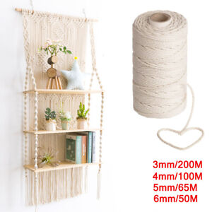 3/4/5/6mm Macrame Rope Natural Beige Cotton Twisted Cord Artisan Hand Craft AUS