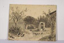 Paysage au Puit et aux Poules Dessin original au fusain et lavis 1915