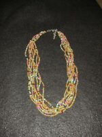 Multi Strand Seed Bead Multi Colored Necklace