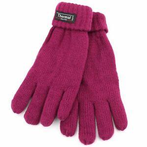 LADIES THERMAL THINSULATE GLOVES LINED INSULATED PLAIN KNIT