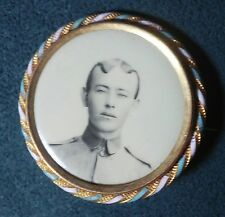 Old antique US Military / Academy ?  Pin Brooch mourning Photo Picture w/ enamel