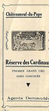 CHATEAUNEUF-DU-PAPE RESERVE DES CARDINAUX PUBLICITE ADVERTISING 1920 ?