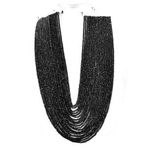 827.00 Cts Natural 20 Strand Black Spinel Round Cut Beads Necklace NK 15E85