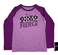 Nike Girl's Born Fierce Graphic Long-Sleeve T-Shirt, Violet Shock, Size 6