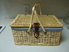 Wicker Woven Picnic Basket ~ Comes with Utensils