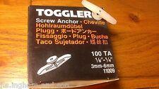 """Job Lot 1 Box Of 100 Small Hollow Wall Toggler Anchor  1/8"""" - 1/4""""  3mm - 6mm"""
