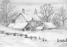 WINTER ON THE FARM SIGNED & NUMBERED LIMITED EDITION A4 PRINT OF PENCIL DRAWING
