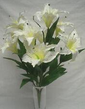 "CREAM Large Tiger Lily Bush Artificial Silk Flowers 18"" Bouquet 9-687WT"