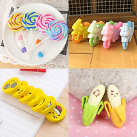 2Pcs Funny Cute Banana Pencil Eraser Rubber Set Novelty Stationery Kids Gifts