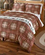 3 PC Rustic Lodge Log Cabin Kodiak Brown Bear Plaid Shams King Comforter Set