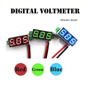 Ultra Mini Two Wires Digital Voltmeter DC4.5-30V LED Diaplay Panel Voltage Meter