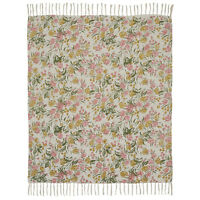 "MADELINE Olive Green, Soft Pink Roses Woven Cotton Throw 50"" x 60"""