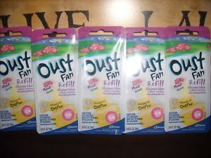 5 OUST FLORAL SCENTED OIL FAN Refills or SMALL SPACE Refill Eliminates Odors