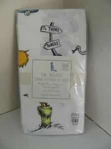 Deadstock RARE 2008 Pottery Barn Kids Dr. Seuss Crib Fitted 100% Organic Cotton