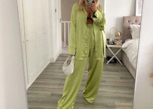 Womens Satin Tracksuit Two Piece Chic Pant Suit High Waisted Pants + Flowy Top