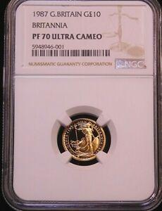 1987 Great Britain £10 Gold (1/10 oz.) BRITANNIA NGC PF70 ULTRA CAMEO #G555