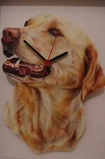 Yellow Labrador novelty wooden wall clock British made from Lark Rise