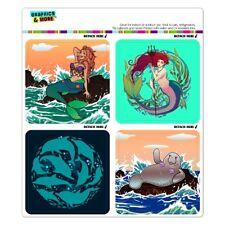 Mermaid Dolphin Manatee Ocean Beach Fridge Locker Car Vinyl Magnet Set