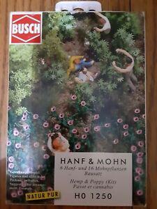 Busch HO Hemp & POPPY PLANTS Scenery Kit #1250