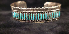 Navajo handmade sterling silver Turquoise needlepoint bracelet -Jason Yazzie