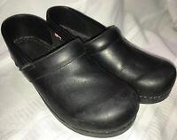 Sanita Women's Professional Clogs, Black Leather, Size 40 (EU),  9-9.5 (US)