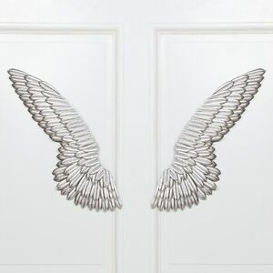 40'' Large Angel Wings Wall Mounted Hanging Silver Home Decor -UK stock