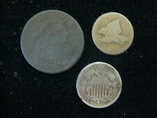 LOT OF 3 US COINS LARGE CENT 1803 SHIELD NICKLE 1867 FLYING EAGLE 1858 LL