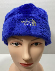The North Face Girls Blue Denali Fuzzy Hat Youth Junior Medium 10/12 Beanie VG!