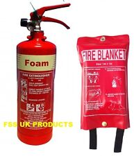 NEW 2 LITRE FOAM (AFFF) FIRE EXTINGUISHER + FIRE BLANKET - B S KITEMARKED