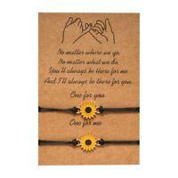 2X Sunflower Charm Surfing Bracelet Summer Friendship Beach Bracelet Handmade~