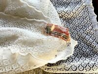 Vintage Unused Knitted Cream 100% Wool Lace Ladies Stole Wrap Table Cloth Runner