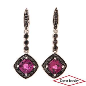 Estate Black Diamond 0.90ct Amethyst 10K Gold Dangle Drop Earrings NR