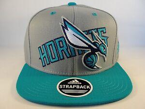 NBA Charlotte Hornets Adidas Strapback Hat Cap Gray Teal