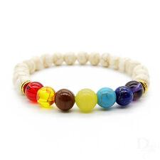 Chakra weiß mehrfarbig bronze Regenbogen Yoga Cracked Perlen Unisex Armband