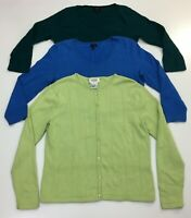 Talbots Sweater Women's Size M Lot of 3 Green Blue Long Sleeve Button Up