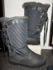 BEARPAW Grey Sheepskin Lined Boots Size 6  Excellent Condition