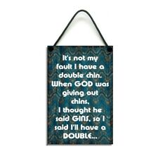 Fun Gin Lovers Gift Chins Not Gins Handmade Gin Funny Plaque 104