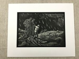 1870 Antique Engraving Brunetto Latini Sodomites Dante's Inferno Divine Comedy