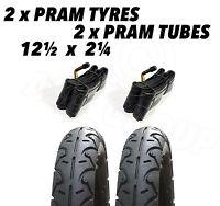 2x Pram Tyres & 2x Tubes 12 1/2 X 2 1/4 Slick Quinny Speedi Buzz Jane Powertrack