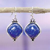 925 Silber Ohrringe handgemachte natürliche Lapislazuli Dangle Hook Eardrop