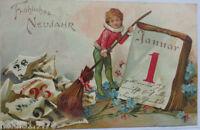 """ New Year, Children, Broom, Calendar, Januar "" 1906, Embossed Postcard (5714)"