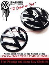 Vw golf MK6 noir brillant arrière & avant grille badge emblème 2009-2012 gti tdi tsi