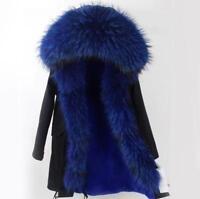 Womens Fur Coat Jacket Parka Genuine Raccoon Fur Hood & Zipper Trims Winter XYW#